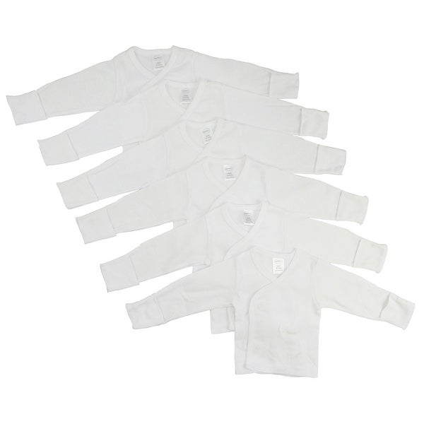 Bambini White Rib Knit White Long Sleeve Side-Snap Shirt 6-Pack