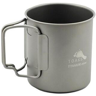 TOAKS 450ml Ultralight Portable Titanium Camping Mug with Folding Handles
