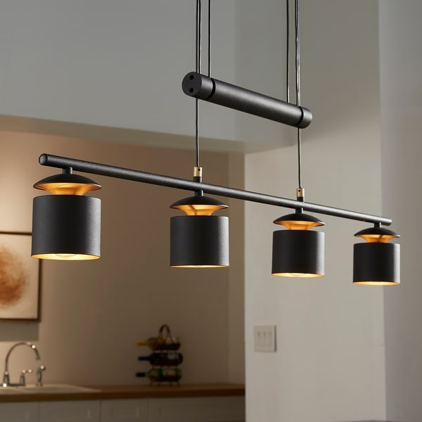 Collin Matte Black Adjustable Height 4-Cylinder Pendant Light by iNSPIRE Q Modern. Opens flyout.