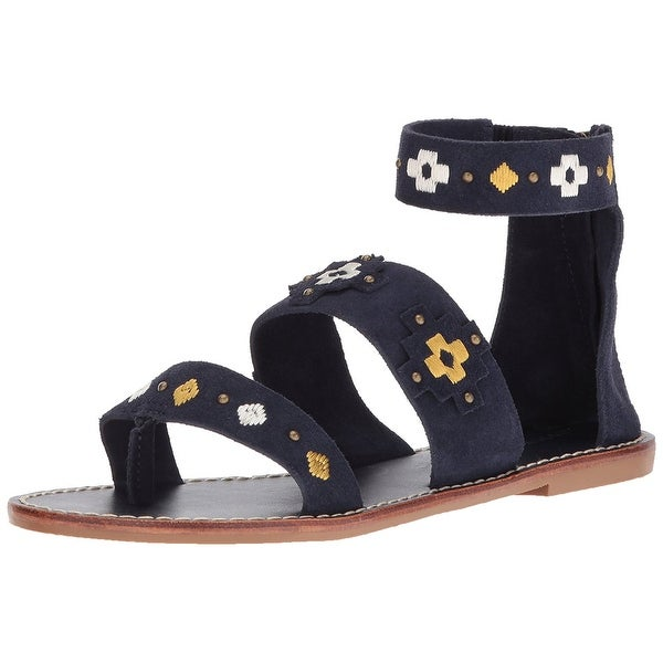 Soludos Women's Embroidered Three Banded Platform Flat Sandal, Navy, Size 6.0