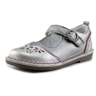 Stride Rite MC Vivien Youth Round Toe Leather Silver Mary Janes