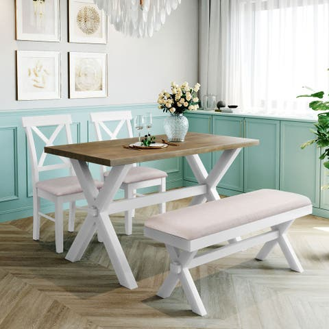 4 Pieces Farmhouse Wood Kitchen Dining Table Set with Chairs and Bench