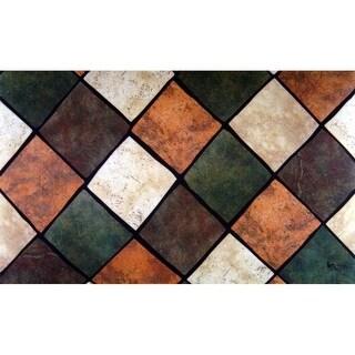 Custom Printed Rugs CPR034 Multi Tiles Doormat 18 x 30 in. Rug - Brown Brown & Tan Green