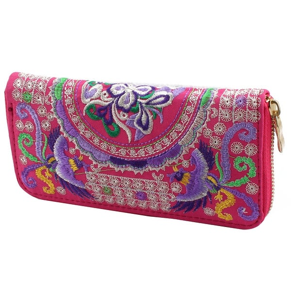 Embroidered Flower Zipper Closure Coin Purse Money Wallet Pouch Holder Fuchsia