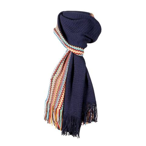 Missoni Black Long Zigzag Fringe Scarf - 13-80-