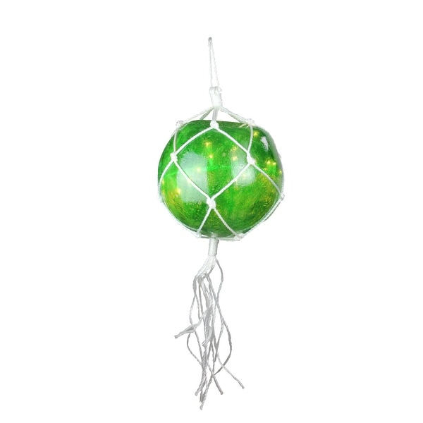 """14.4"""" Lighted Roped Green Ball Outdoor Christmas Decoration - Clear Lights - WHITE"""