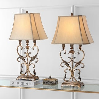 "Safavieh Lighting 33-inch Lucia Gold Table Lamp (Set of 2) - 17""x11.5""x32.5"""