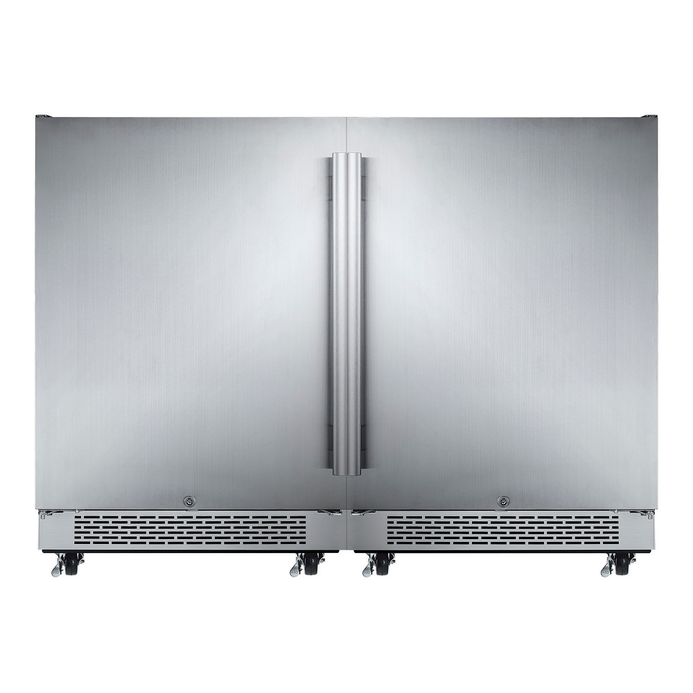 """Overstock Avallon AFR241ODDUAL  48"""" Wide 11 Cu. Ft. Built-In or Free Standing Outdoor Side by Side Dual Compact Refrigerator (Stainless Steel)"""