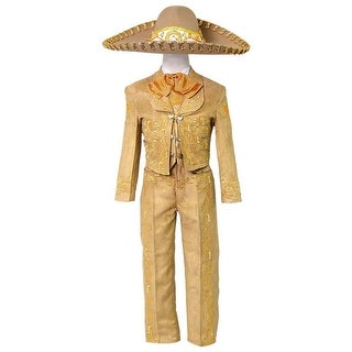 Boys Tan Embroidered Mariachi Pants Jacket Hat Set
