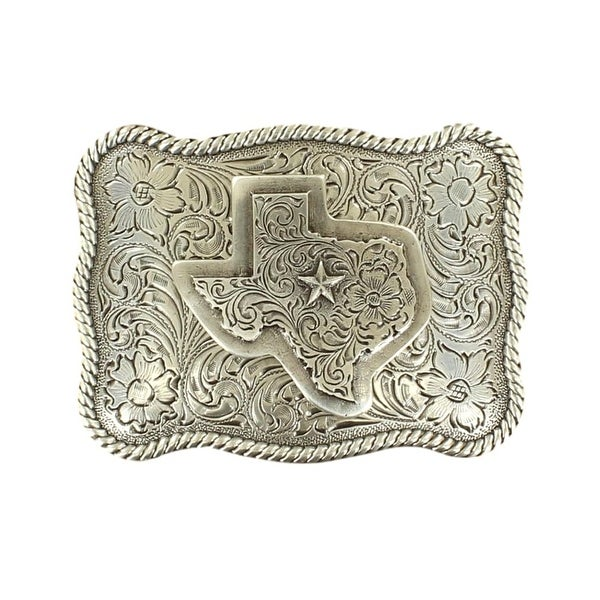 Nocona Western Belt Buckle Mens Rectangle Texas Rope Silver - 3 3/4 x 2 3/4