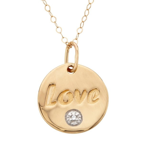 'LOVE' Pendant with Diamond in 14K Gold