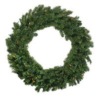 "36"" Pre-Lit Two-Tone Canadian Pine Artificial Christmas Wreath - Multi Lights"