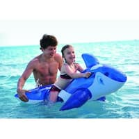 "57"" Transparent Blue and White Whale Rider Inflatable Swimming Pool Float Toy"