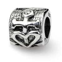 Sterling Silver Reflections Heart and Anchor CZ Bead (4mm Diameter Hole)