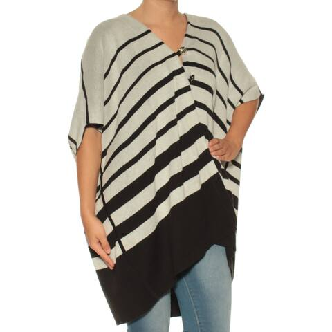 73f7661074d TOMMY HILFIGER Womens Black Striped Short Sleeve Open Cardigan Sweater  Size  S