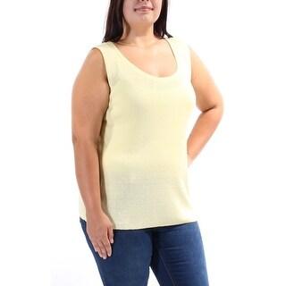JONES NY $59 Womens New 8788 Yellow Scoop Neck Sleeveless Vest Sweater XL B+B