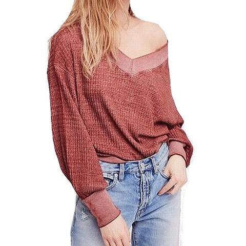 We The Free Red Womens Size Small S Off Shoulder Waffle Knit Top