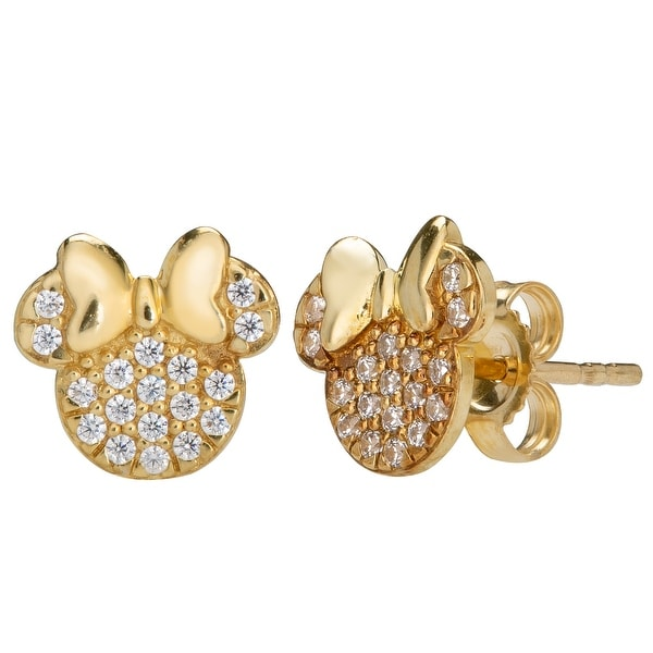 Disney 14KT Yellow Gold Cubic Zirconia Minnie Pink Bow Stud Earrings. Opens flyout.