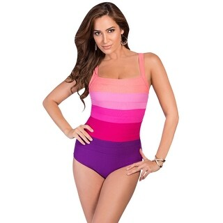 Miraclesuit Fuchsia Spectra Square Neck Underwire One Piece Swimsuit - Purple