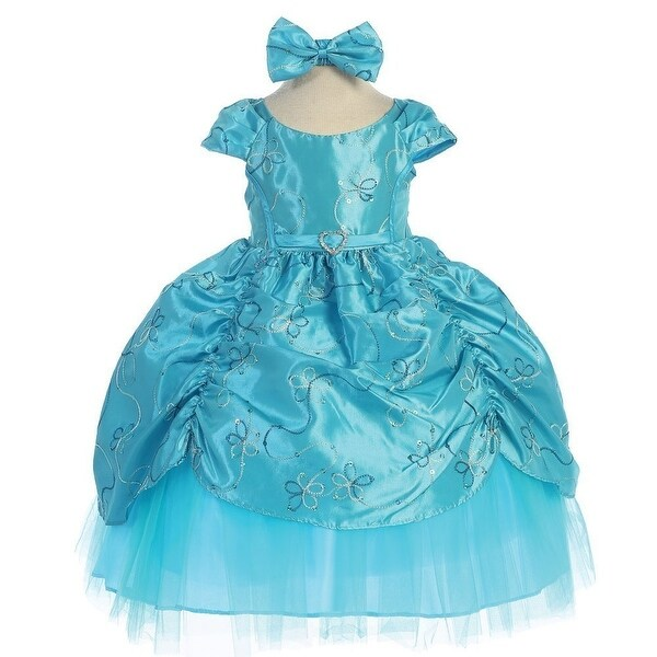 Baby Girls Turquoise Cinderella Embroidered Taffeta Dress 6-24M
