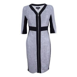 Jax Women's Heritage Metallic Knit Zip Front Dress - nickle/black - 2