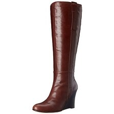 Nine West Womens ORAN-WIDE Leather Closed Toe Knee High Platform Boots