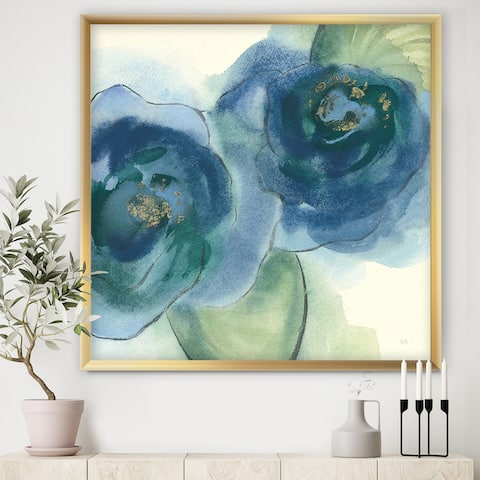 Designart 'Blue Floral Poppies III' Cottage Framed Art Print