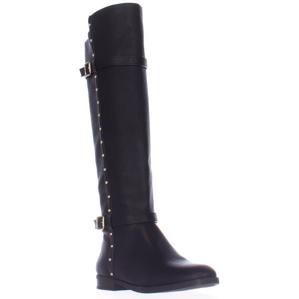 I35 Ameliee Side Studded Knee High Boots, Black