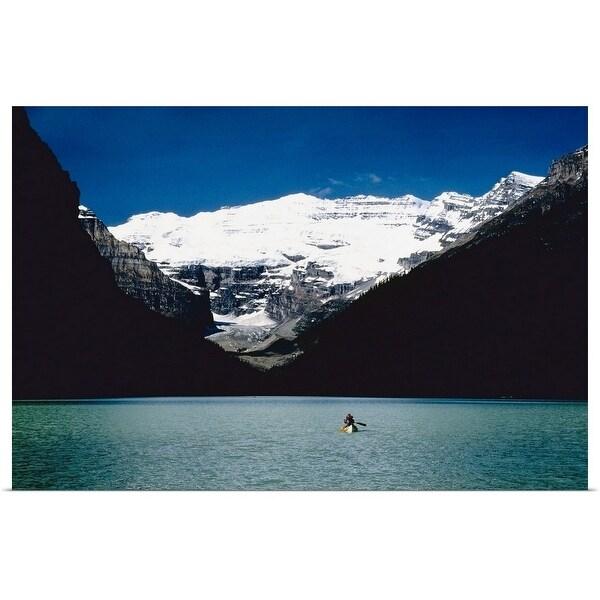 """""""Kayaker in Lake Louise"""" Poster Print"""