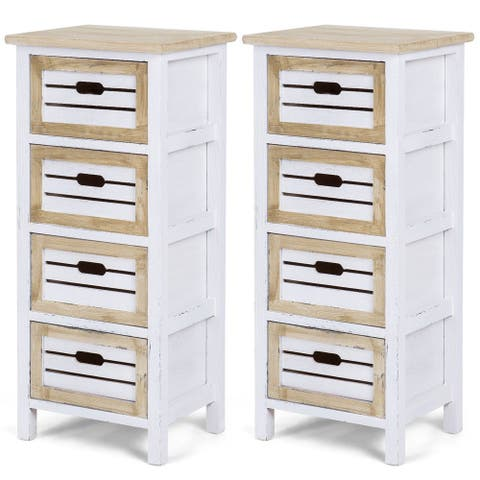 Costway 2PCS Wooden Chest Bedside Table Nightstand Cabinet Side End