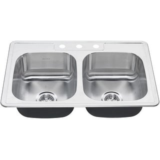 "American Standard 20DB.8332283S  Colony 33"" Double Basin Stainless Steel Kitchen Sink for Drop In Installations with Three"