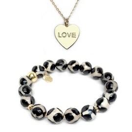 Black & White Agate Bracelet & Love Heart Gold Charm Necklace Set