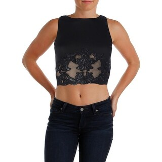 Aqua Womens Sleeveless Embroidered Crop Top