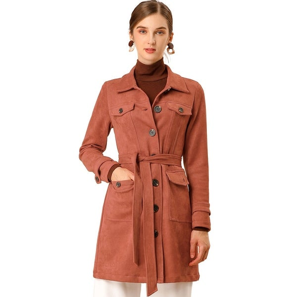 Women's Pockets Tie Waist Single Breasted Mid Thigh Suede Trench Coat. Opens flyout.