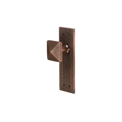 The Copper Factory CF182 Solid Copper Privacy Door Knob Set with Rectangular Rosette -