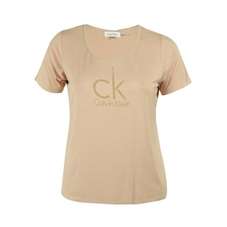 Calvin Klein Women's Rhinestone Logo Knit Tee