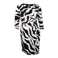 INC International Concepts Women's Asymmetrical Jersey Dress (16, Black/White) - BLACK/WHITE - 16