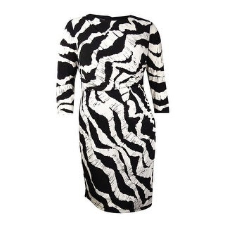 INC International Concepts Women's Asymmetrical Jersey Dress (16, Black/White) - BLACK/WHITE - 16