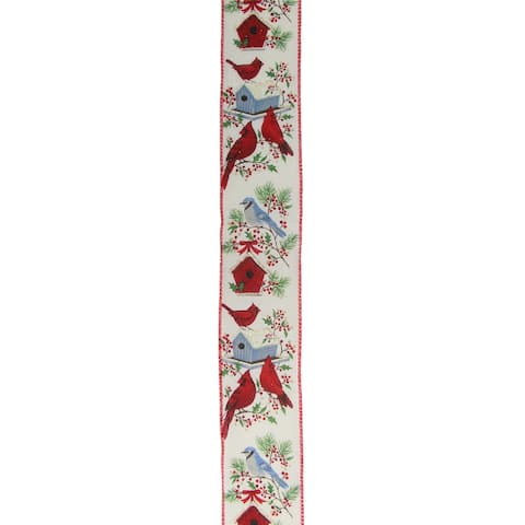 """Red Cardinals and Blue Birds Christmas Wired Craft Ribbon 2.5"""" x 16 Yards"""