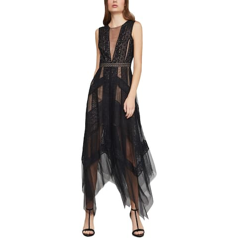 BCBG Max Azria Womens Andi Cocktail Dress Lace Illusion