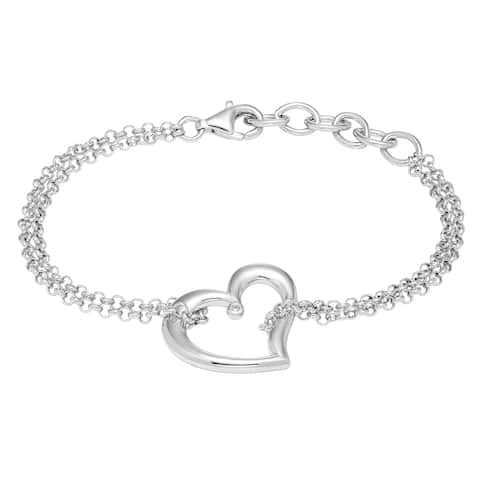 .925 Sterling Silver Diamond Accent Heart Charm Bracelet