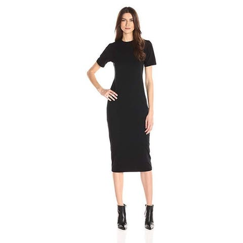 Michael Stars Women's Cotton Lycra Short Sleeve Crew Neck Midi Dress, Black, XS