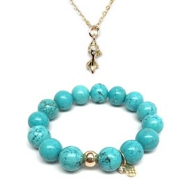 "Turquoise Magnesite 7"" Bracelet & Goldfish Gold Charm Necklace Set"