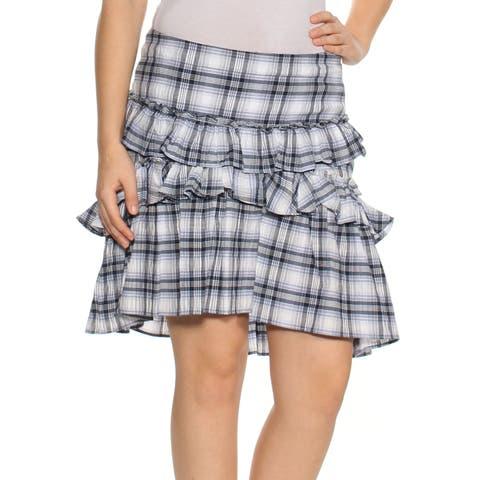 MAX STUDIO Womens Blue Ruffled Plaid Mini A-Line Skirt Size: 6
