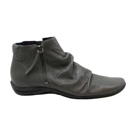 Walking Cradles Womens Abigail Leather Square Toe Ankle Fashion Boots