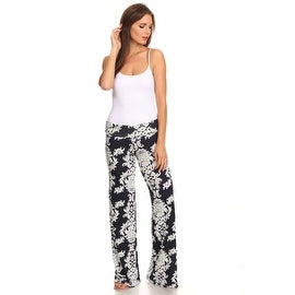 Women's Damask Navy Printed Palazzo Pants Made in USA