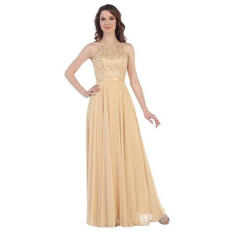 Chiffon & Lace Halter Gown