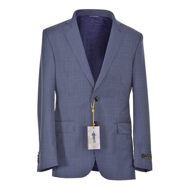 6673ad7ada0a Shop Ted Baker London Men s Jay Slim Fit Check Wool Sportcoat 38 Short Blue  Blazer - Free Shipping Today - Overstock - 24186311