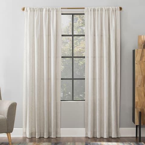 Scott Living Wallis Crosshatch Slub Textured Linen Blend Sheer Rod Pocket Curtain Panel