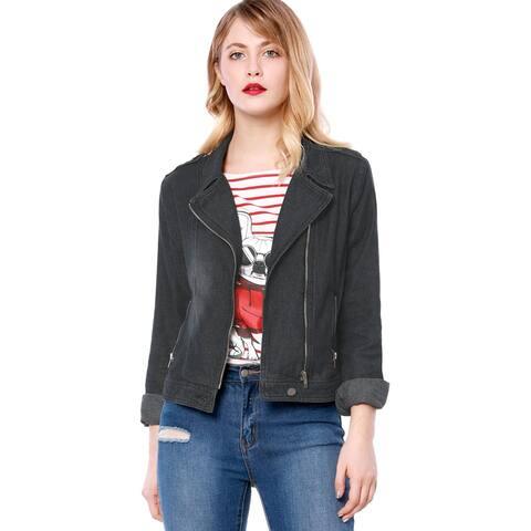 Unique Bargains Women Notched Lapel Asymmetric Zip Moto Denim Jacket